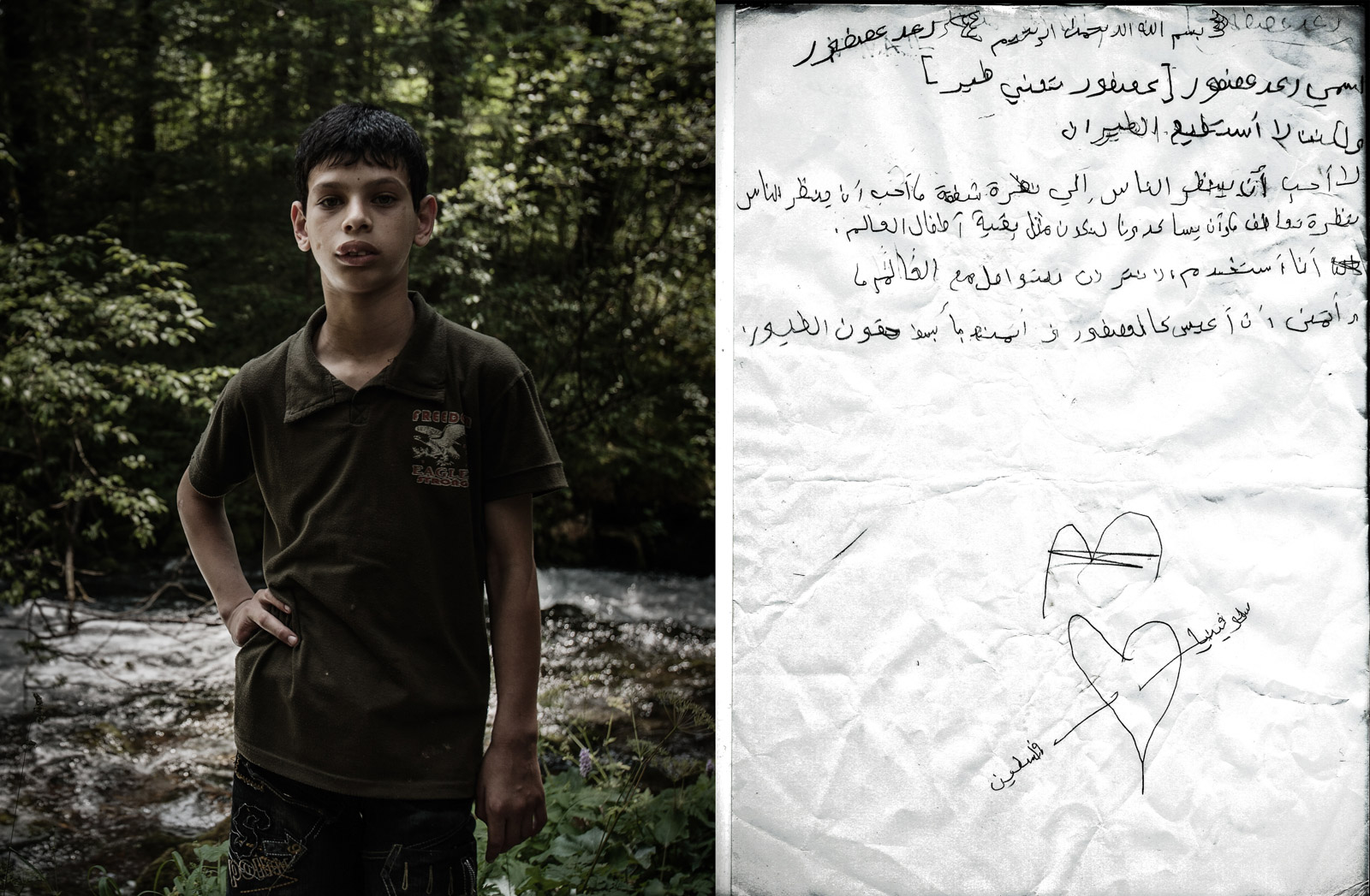 "Kamniška Bistrica, Slovenia - July 3, 2010: RIGHT: Portrait of Rae'ed Asfour, who drowned in Mediterranean sea on September 6, 2014 while attempting to flee from Gaza. LEFT: A scanned letter Rae'ed wrote in 2010 during his rehabilitation stay in Slovenia. Letter reads: ""My surname (Asfour) translates a bird from Arabic. But I cannot fly or even move freely. I don't want people to look at me with pity. I just want them to sympathize with me, and help me to feel I am normal like other children around the world. I use internet to communicate with the outside world and I wish to live like a bird and enjoy our basic rights. Palestine-Slovenia."