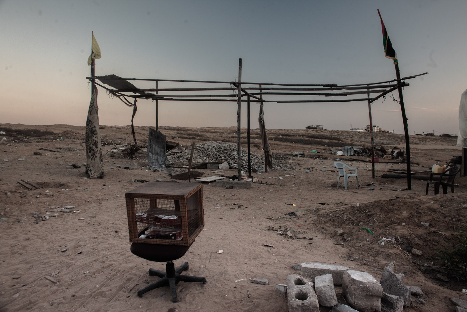 Beit Hanoun, Gaza - September 30, 2014: Metal poles remain where a makeshift tent was left abandoned by a family residing there.