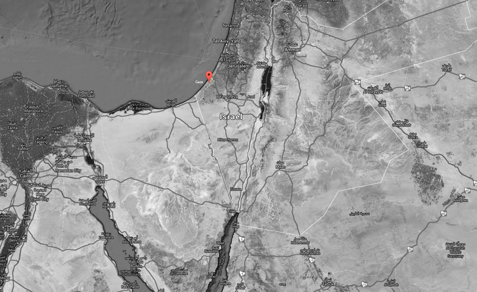 Location of Gaza as on maps.google.com