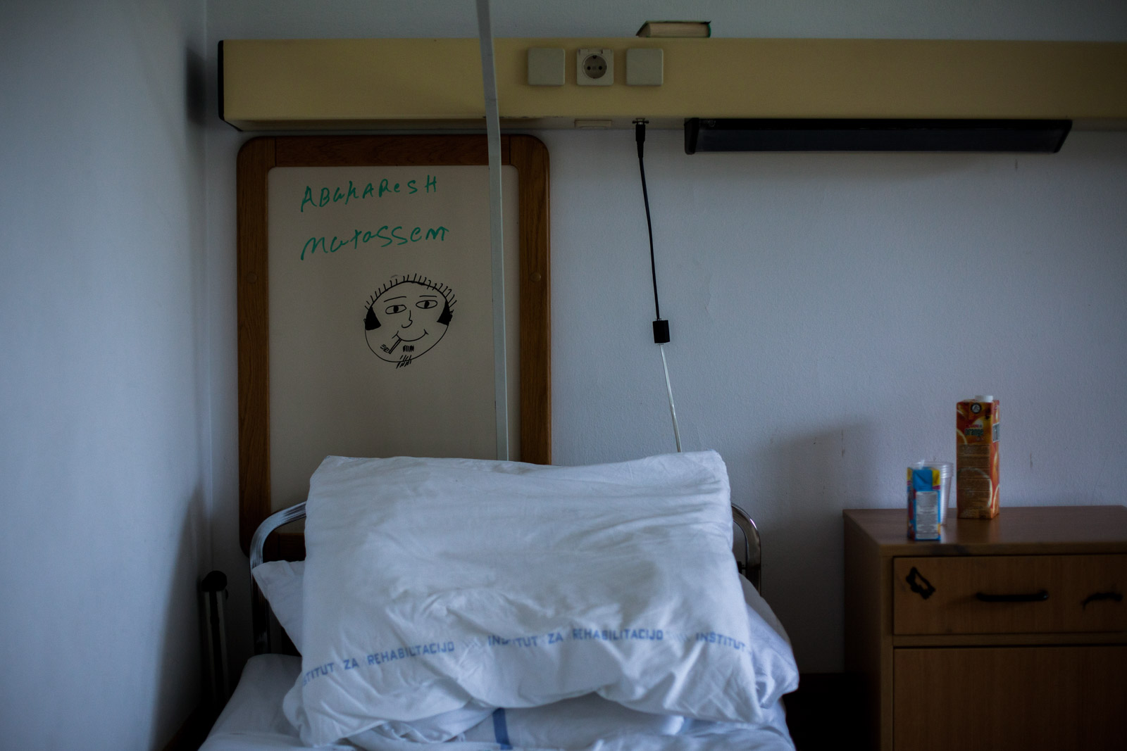 Ljubljana, Slovenia - October 15, 2012: Bed in a room of Mutassem Abukaresh in University Rehabilitation Center Soča in Slovenia remains empty, as he was transferred to an infection clinic due to breathing difficulties during his last days of rehabilitation process.